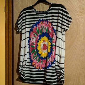 Tops - Striped Top w/ Colorful Flower Top